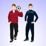 Un uomo di due sport con un pallone da calcio Fotografia Stock Libera da Diritti