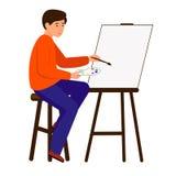 Un uomo disegna un'immagine su tela L'artista tiene una spazzola e una pittura Il carattere si siede al cavalletto illustrazione di stock