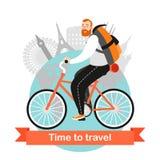 Un uomo divertente del fumetto sta guidando una bicicletta Viaggio intorno al mondo del ciclo Fotografia Stock Libera da Diritti