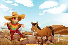 Un uomo e un cavallo vicino alle rocce royalty illustrazione gratis