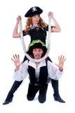 Un uomo e una donna dei due pirati sul movimento Fotografia Stock Libera da Diritti