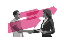 Un uomo e una donna fanno un affare Stretta di mano illustrazione vettoriale