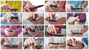 Un uomo facendo uso dei apps su uno smartphone mobile dello schermo attivabile al tatto video d archivio