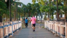 Un uomo maturo sulla camicia rosa sta correndo sul ponte in parco nel tempo di sera fotografia stock libera da diritti