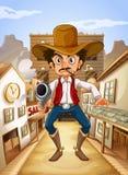 Un uomo messicano che tiene una pistola Fotografie Stock Libere da Diritti