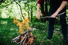 Un uomo mette un bastone nel fuoco, resto nella natura Il ramo è nelle mani dell'uomo fotografia stock libera da diritti