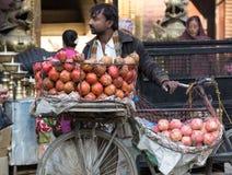 Un uomo nepalese sui frutti locali di vendita della via a Kathmandu, Nepal Fotografie Stock