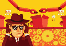 Un uomo in occhiali da sole ed in un cappello controlla segreto la produzione e ruba i dati sensibili Fotografia Stock Libera da Diritti
