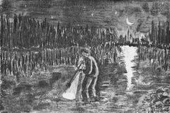 Un uomo pesca il pesce con l'aiuto di una prigione fotografie stock