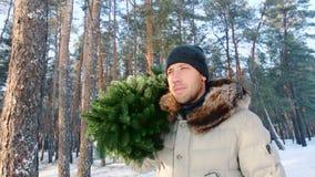 Un uomo porta un albero di abete nel concetto di natale della foresta dell'inverno archivi video