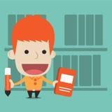 Un uomo ricerca nella biblioteca Immagine Stock
