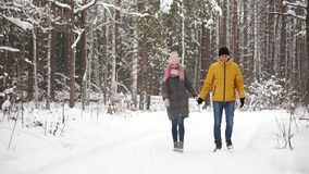 Un uomo in un rivestimento giallo ed in una ragazza in una passeggiata della sciarpa e del cappello attraverso la foresta di inve video d archivio