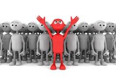 Un uomo rosso si leva in piedi fuori dalla folla Immagine Stock Libera da Diritti