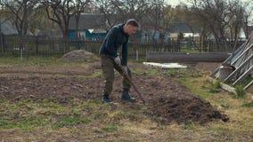 Un uomo scava la terra con una pala video d archivio