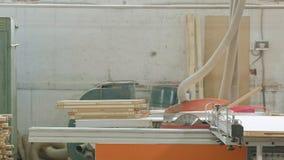 Un uomo sega gli spazii in bianco di legno sulla macchina, la produzione della porta delle porte interne del villaggio archivi video