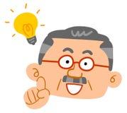 Un uomo senior che infiamma, uomo invecchiato medio, fronte illustrazione di stock