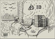 Un uomo si siede nella sua stanza e lavora illustrazione vettoriale