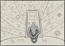 Un uomo si siede vicino alla porta in dubbio royalty illustrazione gratis