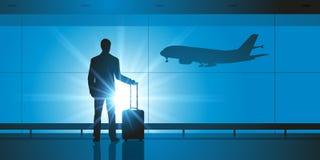 Un uomo solo con la sua valigia sta aspettando all'aeroporto illustrazione vettoriale