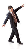 Un uomo sta andando sulla riga immaginata Immagini Stock