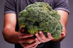 Un uomo sta tenendo i broccoli freschi Stile di vita sano immagine stock