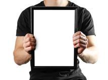Un uomo tiene una struttura nera A4 Una struttura vuota con un fondo bianco Fine in su Isolato su priorità bassa bianca fotografie stock