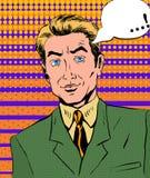Un uomo in un rivestimento verde ed in uno stile arancio di Pop art del legame Fotografie Stock Libere da Diritti