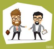 Un uomo in un vestito dell'ufficio tiene una riunione con un socio commerciale Fotografia Stock