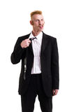 Un uomo in un vestito isolato su bianco Fotografia Stock Libera da Diritti