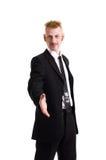 Un uomo in un vestito isolato su bianco Immagini Stock Libere da Diritti