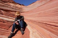 Un uomo in Wave, Arizona Immagine Stock