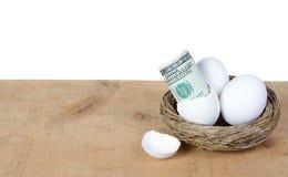 Un uovo con cento fatture del dollaro Fotografie Stock