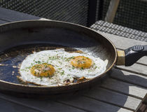 Un uovo di due uova fritte sul piatto sulla vecchia pentola Fotografie Stock