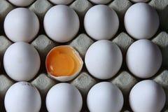 Un uovo rotto fra molte uova bianche Fotografia Stock Libera da Diritti
