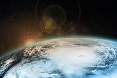 Un uragano sulla terra Elementi di questa immagine ammobiliati dalla NASA Immagini Stock