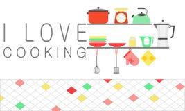 Un utensile stabilito della cucina sullo scaffale Amo cucinare il concetto illustrazione di stock