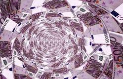 Un vórtice hecho de 500, - billetes de banco euro Foto de archivo libre de regalías