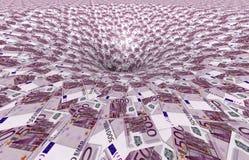 Un vórtice hecho de 500, - billetes de banco euro Fotografía de archivo libre de regalías
