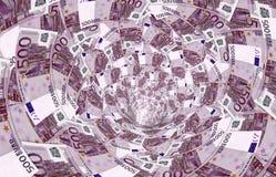 Un vórtice hecho de 500, - billetes de banco euro Fotografía de archivo