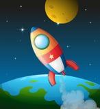 Un vaisseau spatial près de la lune Photographie stock