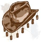 Un vaquero o un sombrero australiano del estilo stock de ilustración
