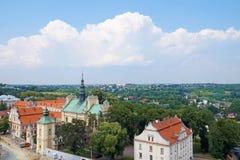 Un vaste panorama de la ville polonaise historique de Sandomierz photographie stock libre de droits