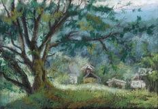 Un vecchio albero di quercia vicino alla strada Fotografia Stock