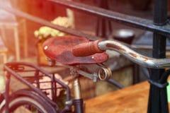 Un vecchio dettaglio della bici Fotografia Stock