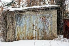 Un vecchio garage è piante asciutte copsy dentro da nevicare Immagine Stock Libera da Diritti