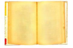 Un vecchio libro con le pagine macchiate gialle in bianco Fotografia Stock Libera da Diritti