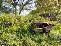 Un vecchio retro aratro arrugginito della macchina agricola sulla terra inutilizzata Immagini Stock