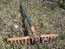Un vecchio strumento agricolo in giardino domestico alla stagione di caduta in villaggio Immagine Stock