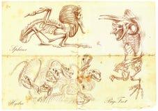 Un vector dibujado mano: Esfinge, Bigfoot, Hydra Imagen de archivo