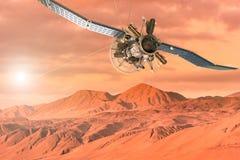 Un vehículo espacial que explora la superficie de Marte stock de ilustración